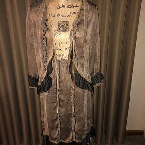 Romantic Taupe & Black Embellished Skirt Set S & L